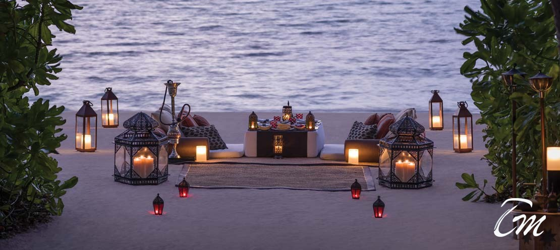 Arabian dinner setup in Maldives beach
