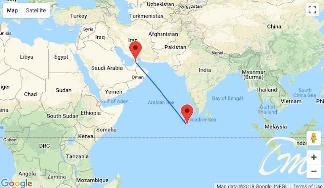 Dubai to Maldives distanced by around 1900 miles