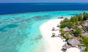 Beach Front Villa Arial View At Vabbinfaru Maldives