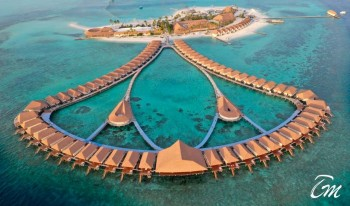 Cinnamon Velifushi Maldives water villas areal view