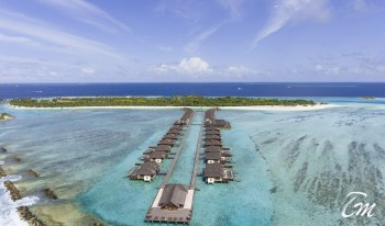 Paradise Island Resort Maldives Aerial View - Water Villas