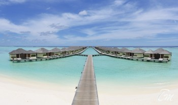 Paradise Island Resort Maldives Aerial View Water Villa Panoramic View