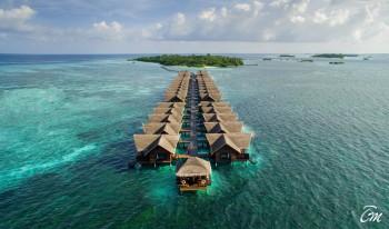 Adaaran Select Hudhuranfushi Maldives Water Villa Aerial View