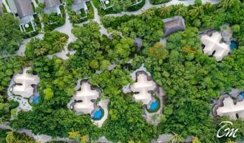 Fairmont Maldives - Sirru Fen Fushi - Beach Villas Aerial Shot