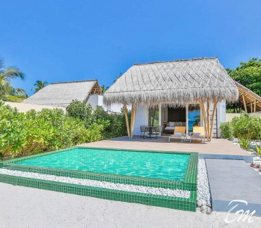 Beach Villa with Pool Front View Emerald Resort Maldives
