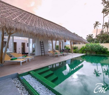 Family Beach Villa with Pool Front View - Emerald Maldives Resort