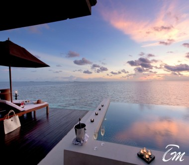 Lily Beach Resort and Spa at Huvahendhoo Maldives Sunset Water Suite Exterior