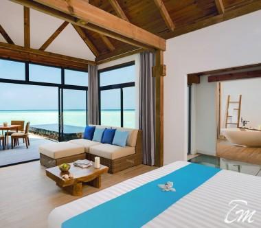 Mövenpick Resort Kuredhivaru Maldives Overwater Pool Villa Sunrise Lagoon Bedroom