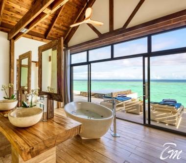 Mövenpick Resort Kuredhivaru Maldives Overwater Pool Villa Sunrise Ocean Bathroom