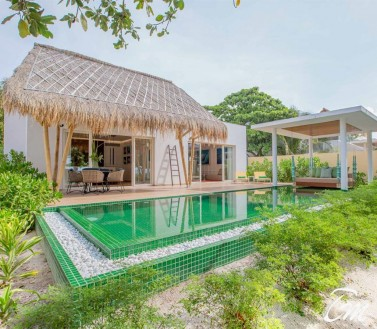 Superior Beach Villa with Pool  Front View- Emerald Maldives Resort And Spa