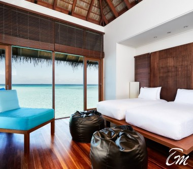 Conrad Maldives Rangali Island Family Water Villa Bedroom