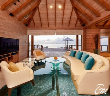 Conrad Maldives Rangali Island Sunset Water Villa Living Room
