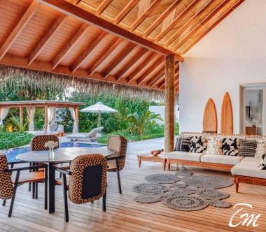 Fairmont Maldives - Sirru Fen Fushi Seven Bedroom Beach Sunset Villa Living