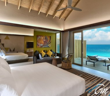 Hard Rock Hotel Maldives Platinum Overwater Villa Bedroom