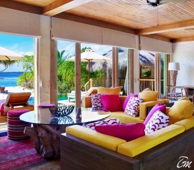 Six Senses Laamu Maldives Two Bedroom Ocean Beach with Pool Living Area