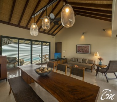 The Residence Maldives Dhigurah Sunrise 2 Bedroom Water Pool Villa Living