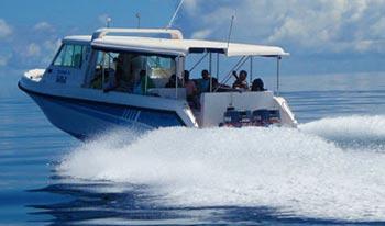 50 minutes by speedboat